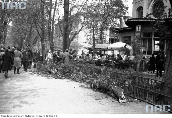 "Removal of fallen trees in the Planty Gardens on the corner of Szczepański Square in the 1920s.In the background, there is a cafe which was then called ""Udziałowa"" (photo from the National Digital Archive)"